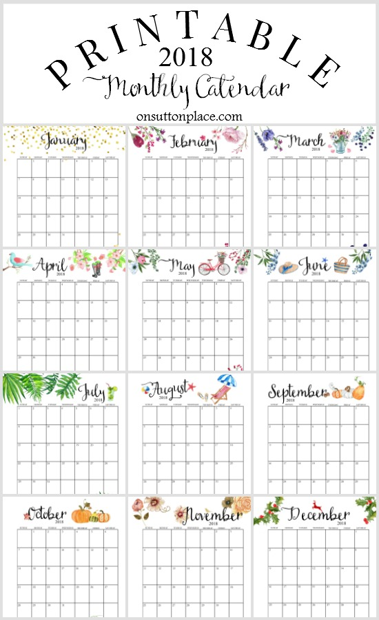 June 2018 Blank Monthly Calendar