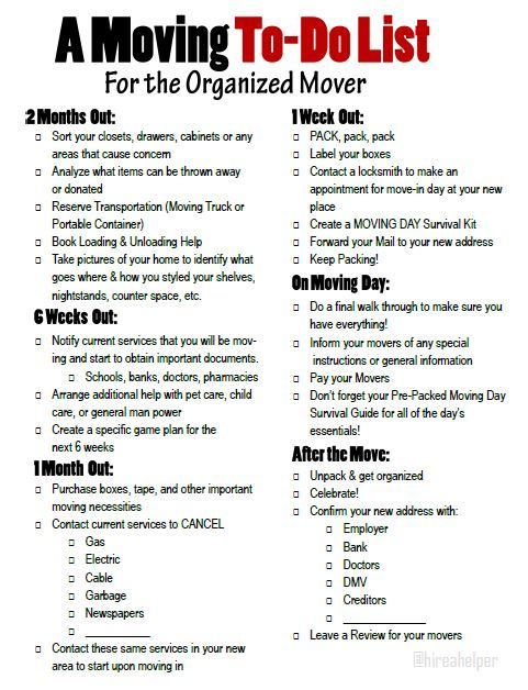 A moving to do list for the organized mover. Free printable moving