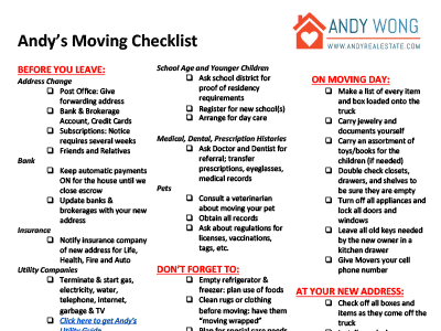 Andy's Moving Checklist Andy Real Estate