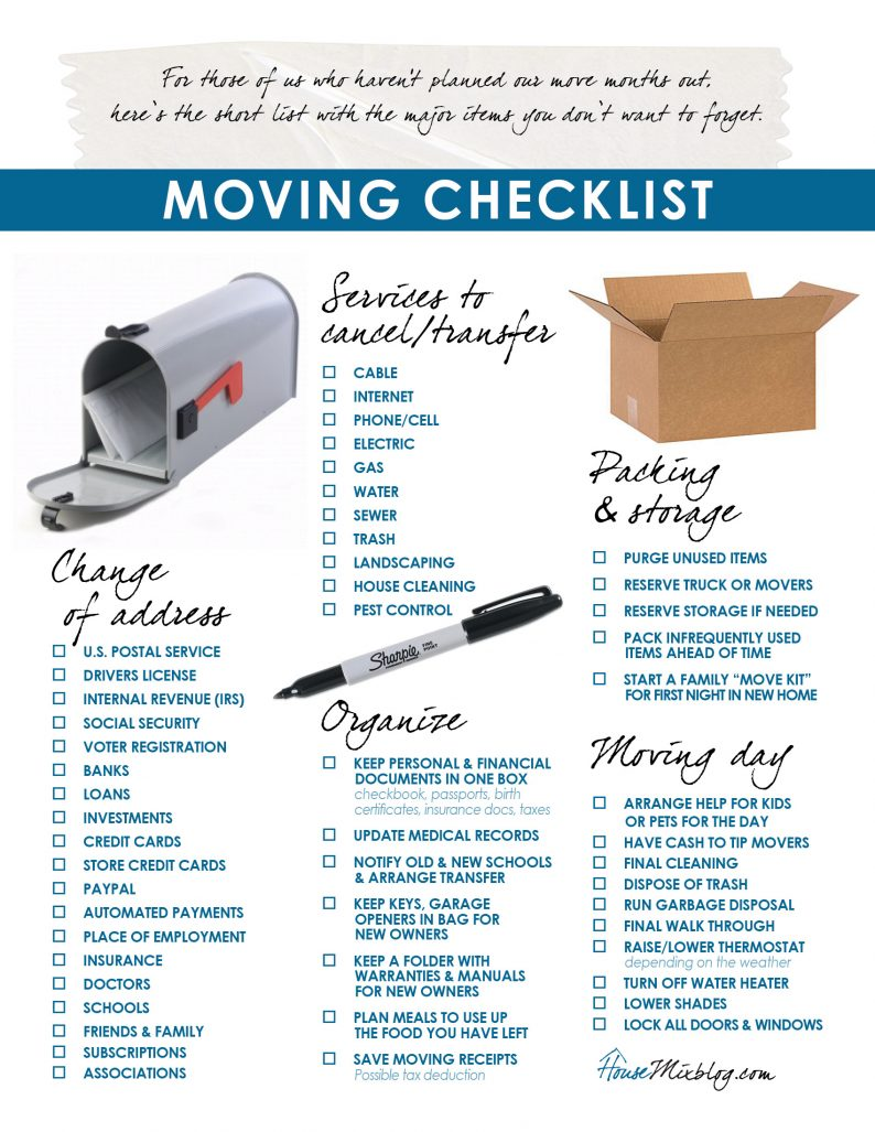 Moving part 2: Change of address, services to stop, organizing