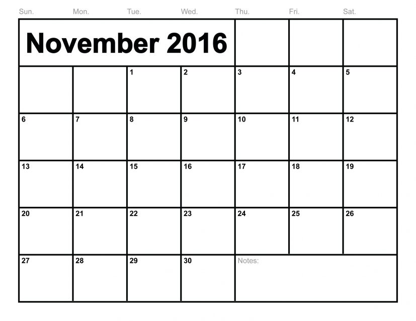 November 2016 Calendar | monthly calendar printable
