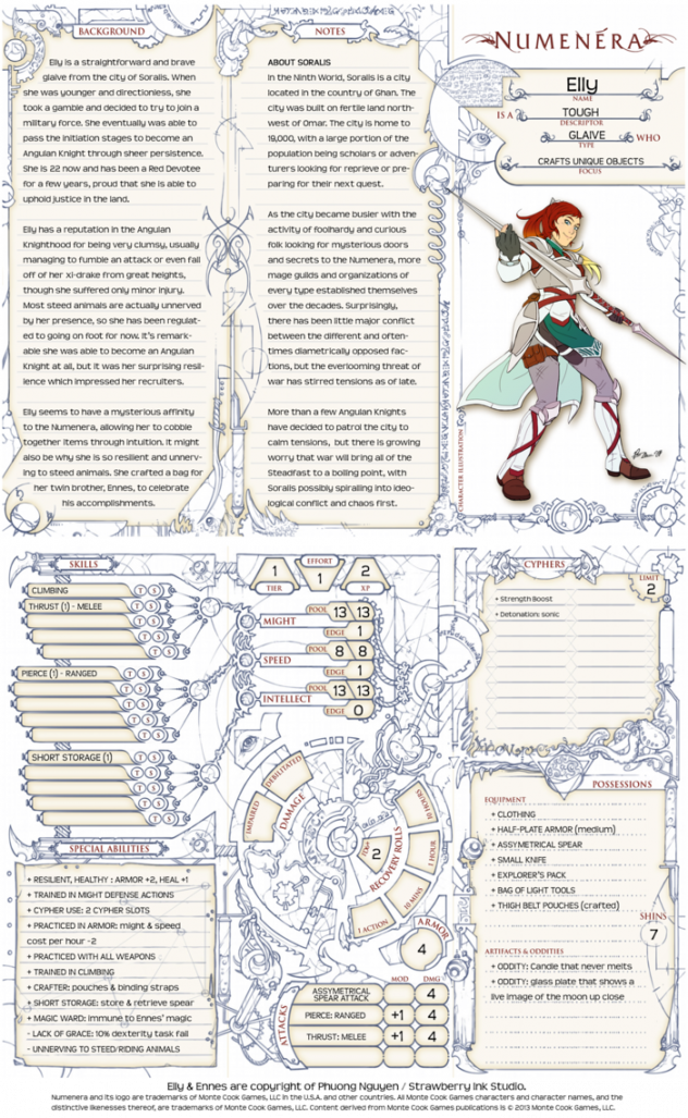 Numenera Sheet by Tensen01 on DeviantArt