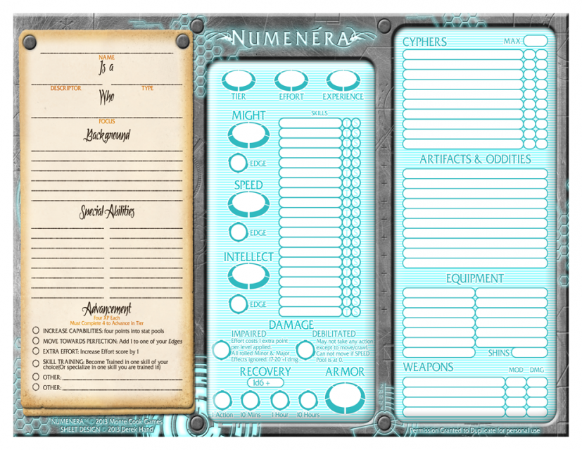 Simplistic Numenera Form Fillable Sheet by Eavale on DeviantArt