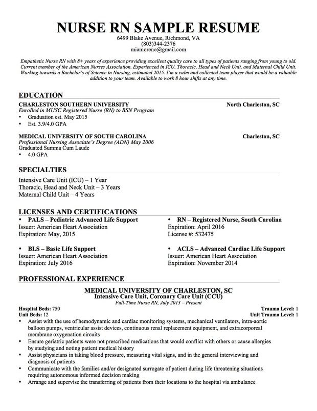 Experienced nursing resume … | Pinteres…