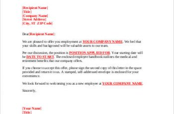 offer letter job offer letter template