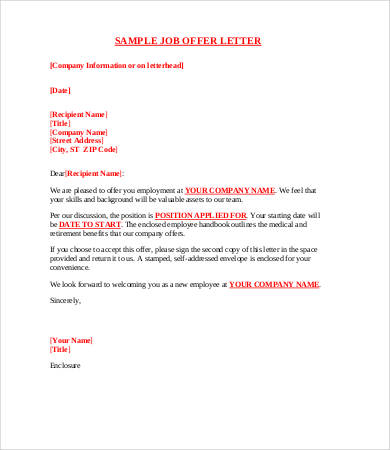 8+ Sample Offer Letters Free Sample, Example, Format | Free