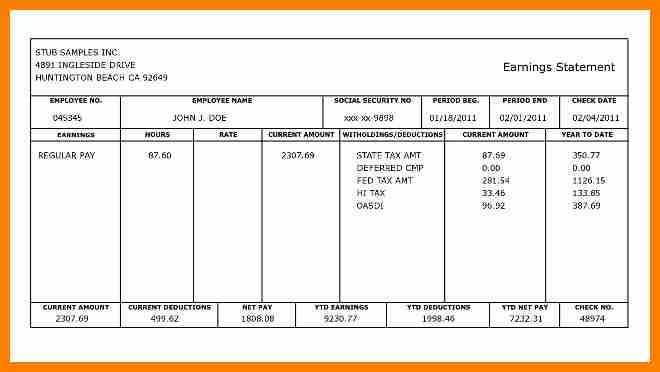 5+ employee pay stub template | Pay Stub Format