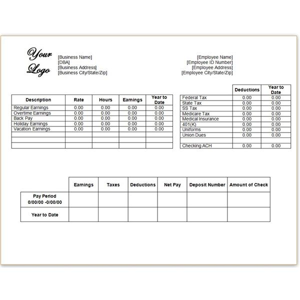 microsoft word pay stub template download a free pay stub template