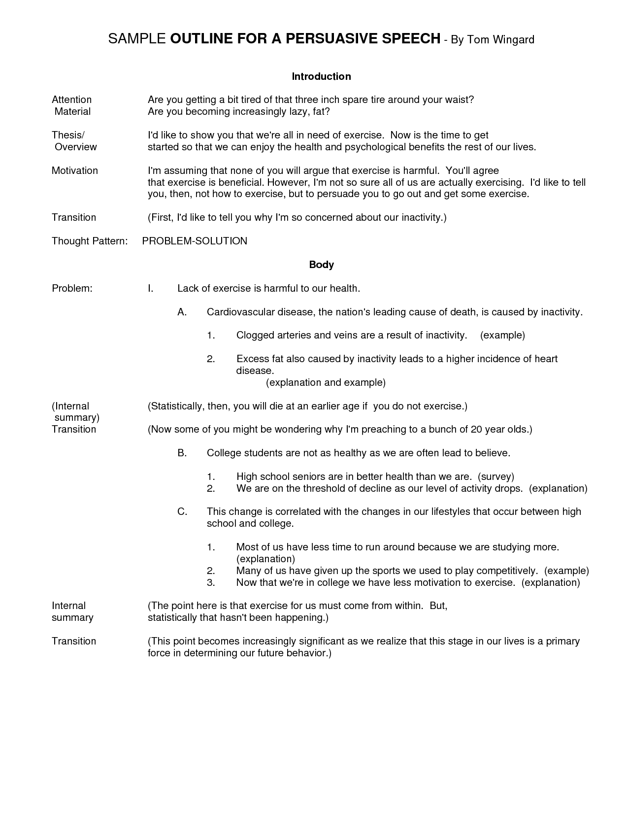 Best Photos of Persuasive Speech Outline Format Example College