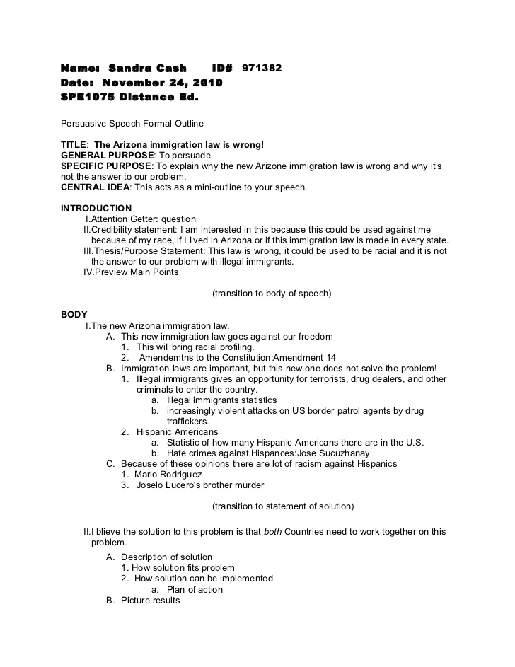 Persuasive speech formal outline