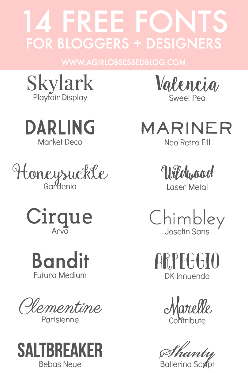 14 Free Fonts for Bloggers + Designers A Girl, Obsessed