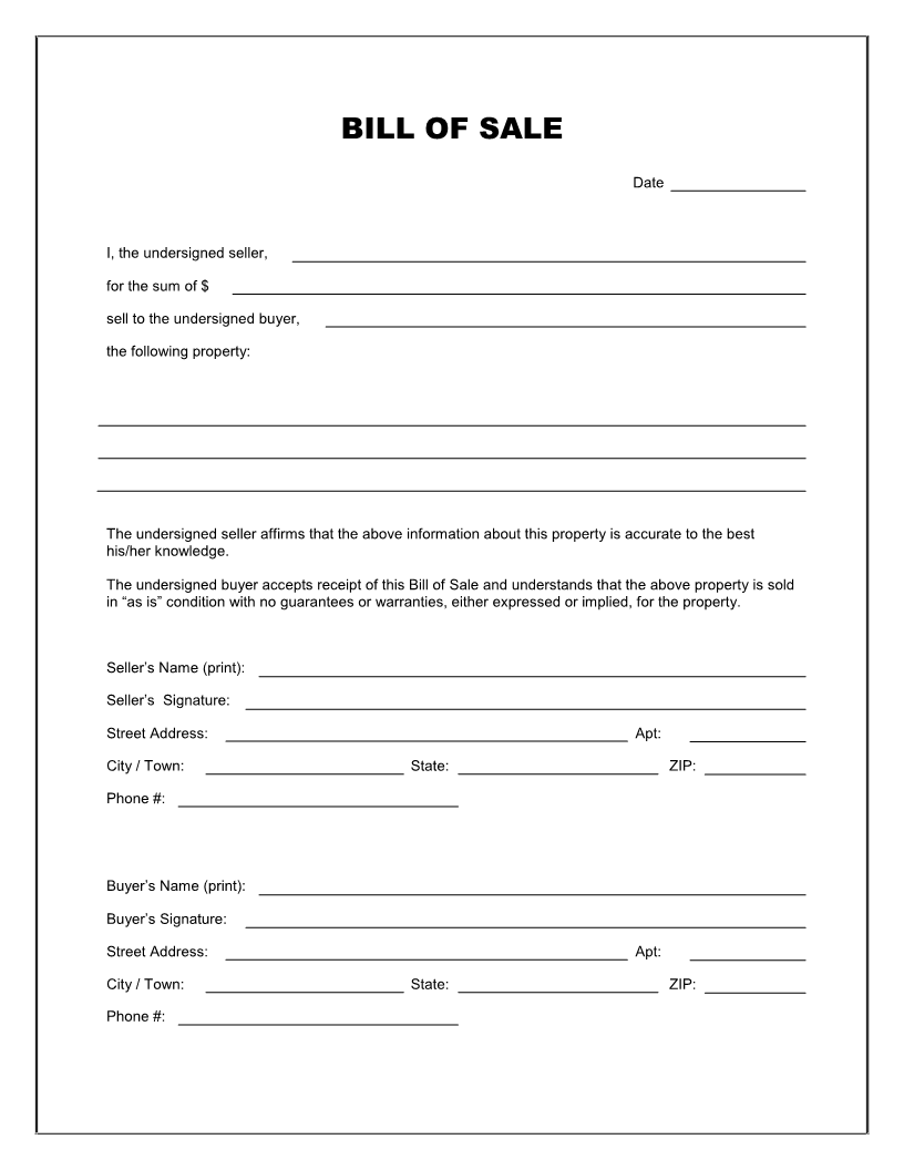 Free Blank Bill of Sale Form Download PDF | Word