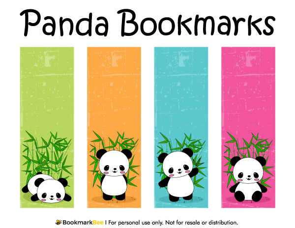 Free printable panda bookmarks. Download the PDF template at http