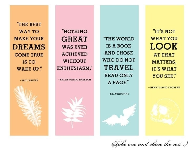 Cute Printable Bookmarks With Quotes | Printables and Menu