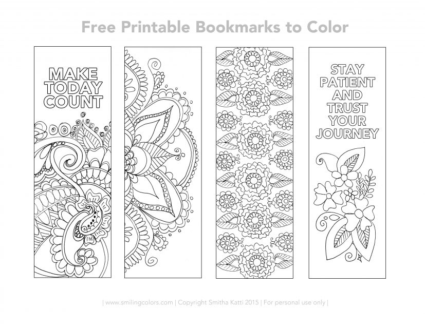 Free Printable Bookmarks to color Smitha Katti