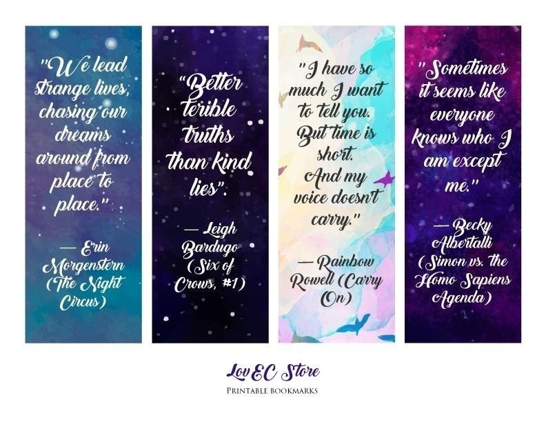 Printable Bookmarks With Quotes From Books | Printables and Menu