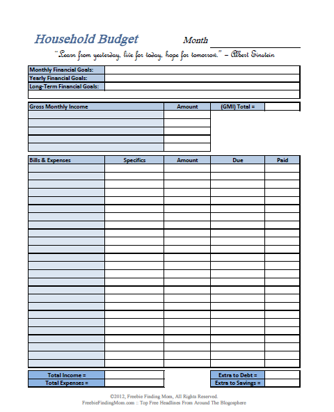 FREE Printable Budget Worksheets – Download or Print | Budgeting
