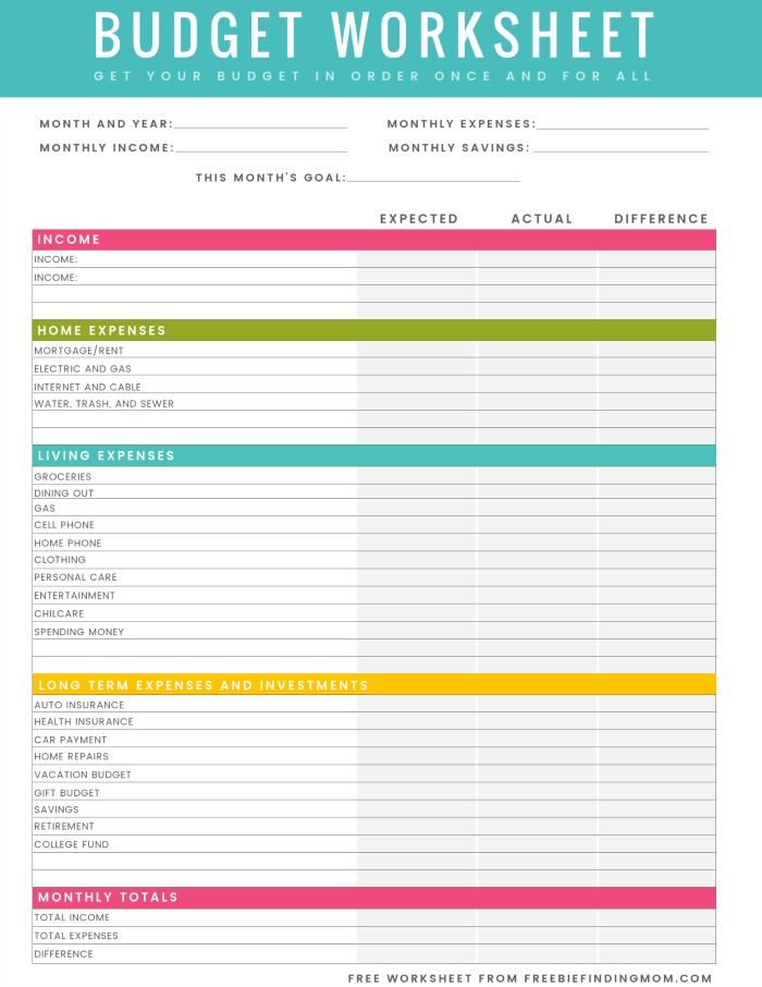 budget worksheet pdf free printable household budget worksheet