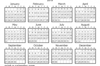 printable calendar one page year thumbnail