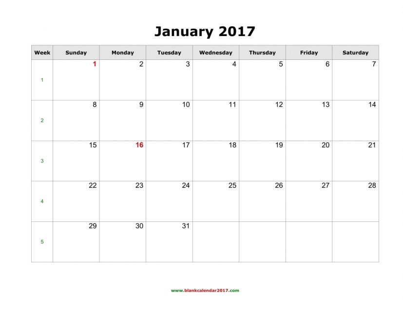 2017 Printable Monthly Calendar