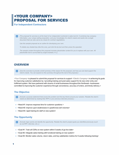 Services proposal (Business Blue design) Office Templates