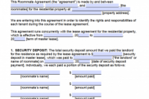 rental agreement template roommate agreement template form x