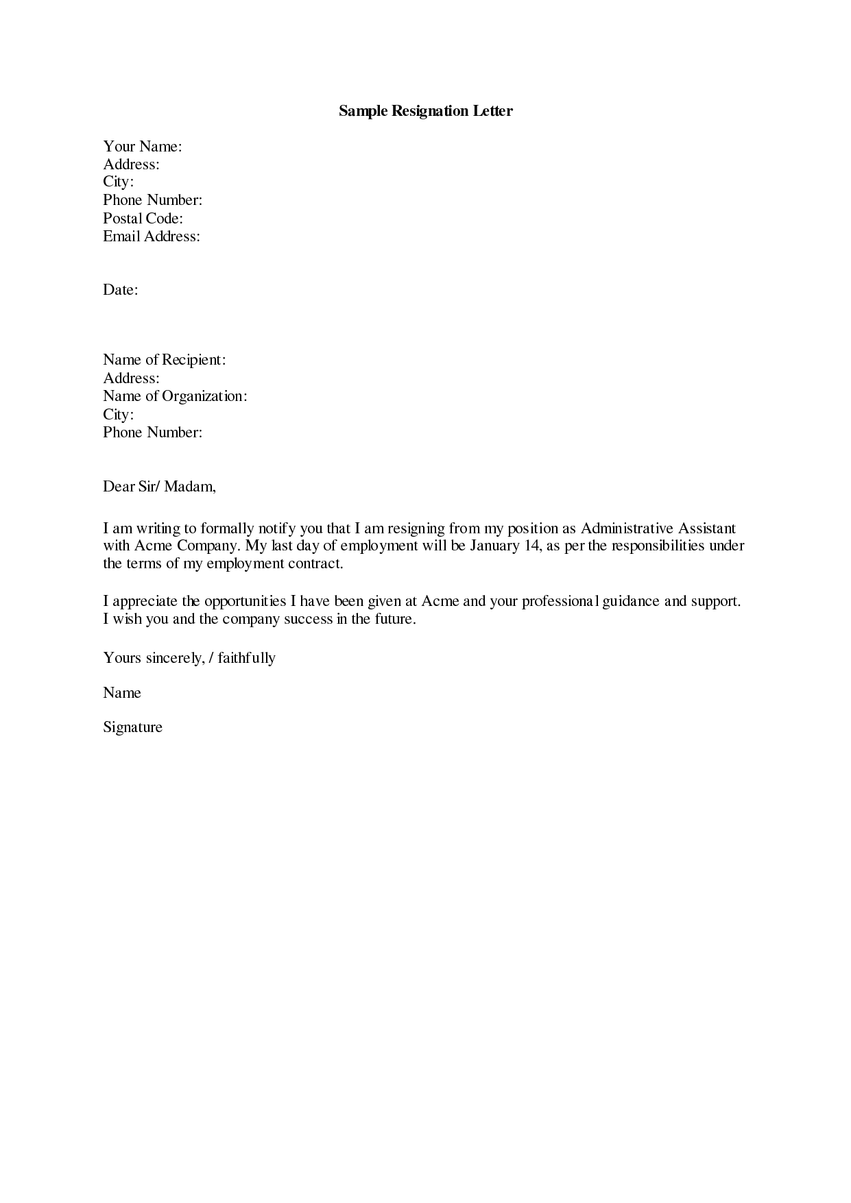 resignation letter sample 19 letter of resignation | ankit