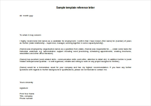 Sample Reference Letter Reference Letter Template 42 Free Sample