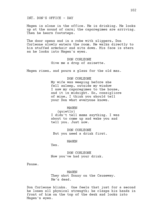 THE GODFATHER SAMPLE SCRIPT PAGE Writing Basics FILM SCHOOL ONLINE
