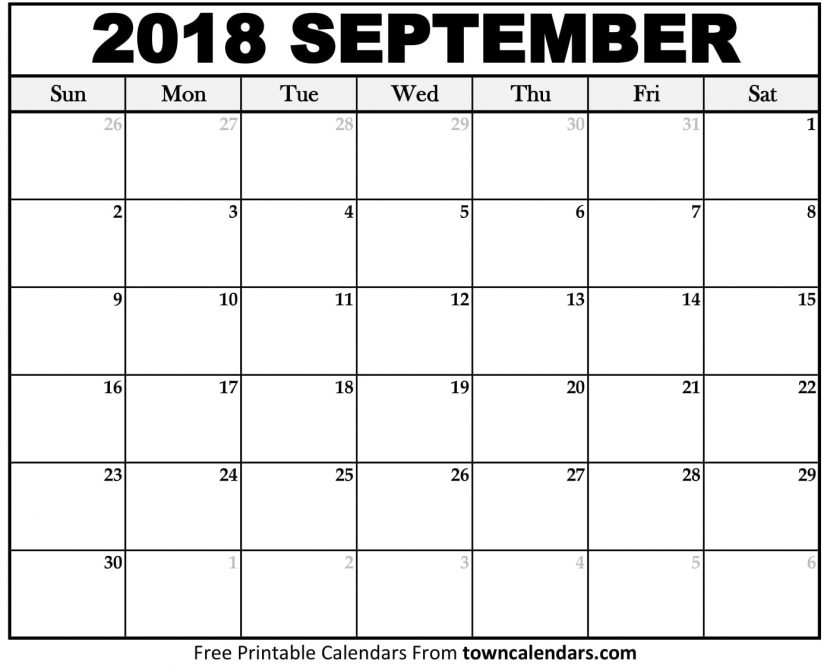 Printable September 2018 Calendar towncalendars.com