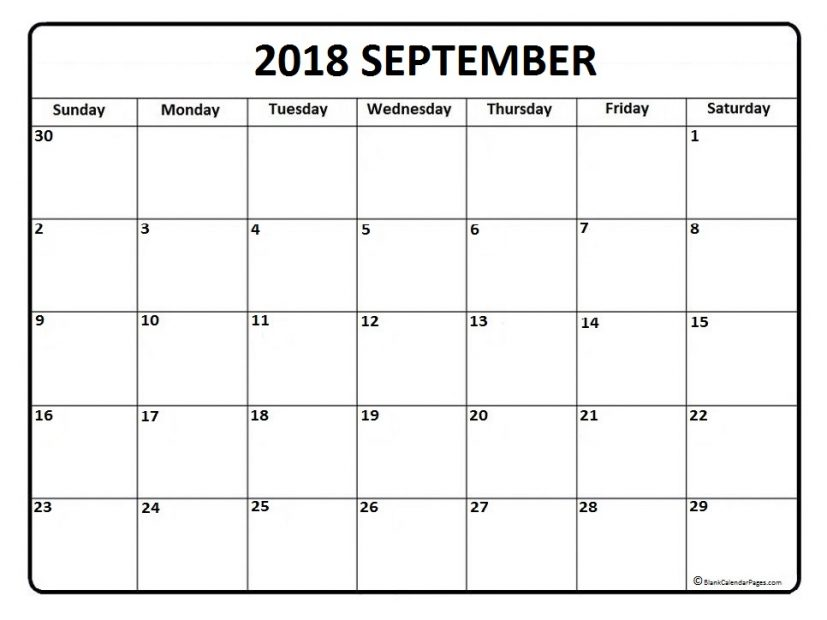 September 2018 calendar | 51+ calendar templates of 2018 calendars