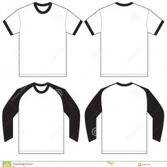 t shirt design template black white ringer t shirt design template vector illustration long short sleeved isolated front back men
