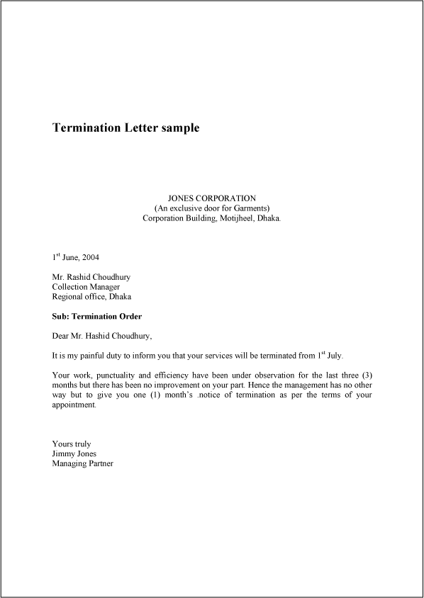 letter of termination template termination letter sample example