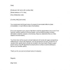 termination letter termination letter template
