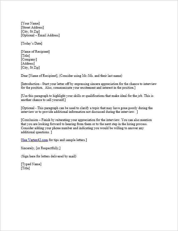 Free Interview Thank You Letter Template | Samples