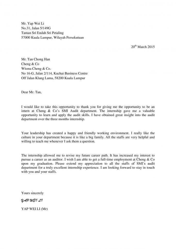 Thank you Letter to Company Supervisor Wei Li's internship