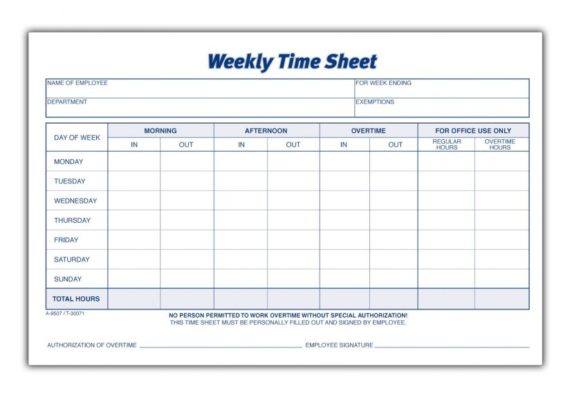 Time Sheet, Weekly, 2 Part, Carbonless, 100 ST/PK