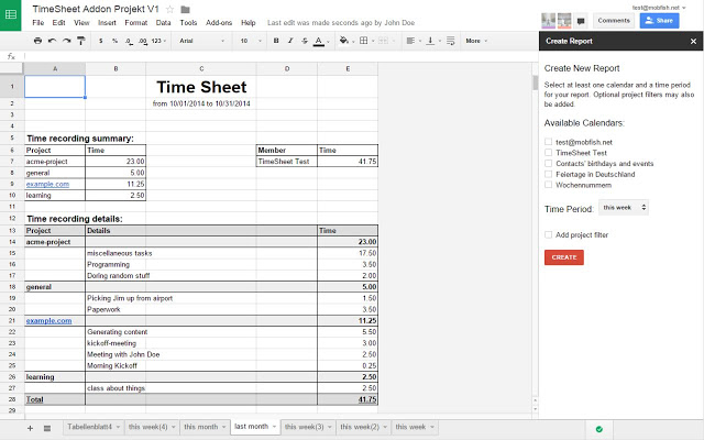 TimeSheet Google Sheets add on