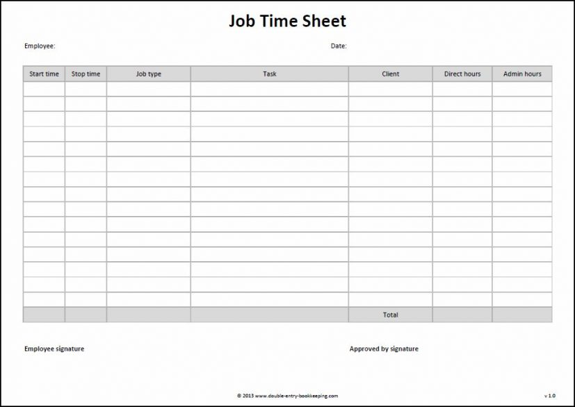 Work Timesheet Template Job Time Sheet Template Double Entry Work