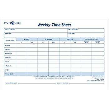 Amazon.: DOUBLE PACK Employee Weekly Time Card, 100 sheets per