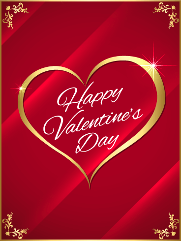Golden Heart Happy Valentine's Day Card | Birthday & Greeting
