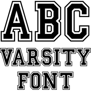 Silhouette Design Store View Design #225795: varsity font