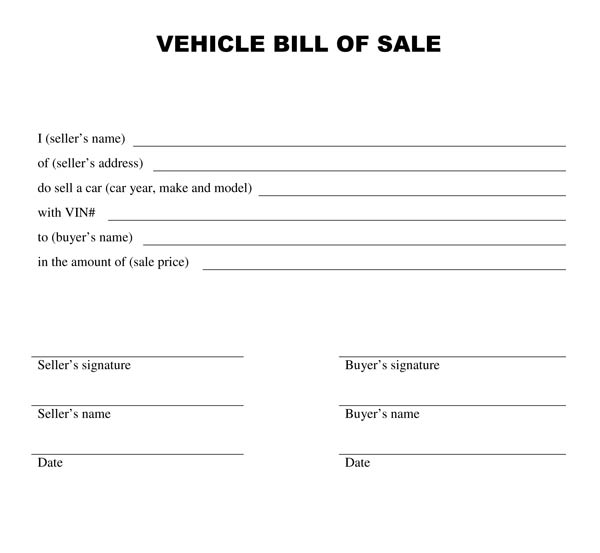 Download a Free Vehicle Bill Of Sale Template