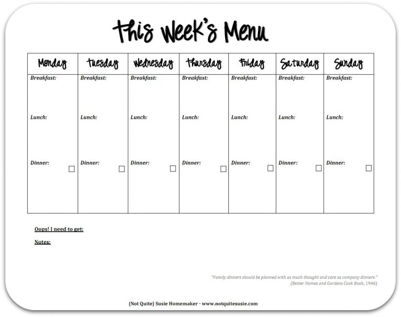 one week meal planner Coles.thecolossus.co