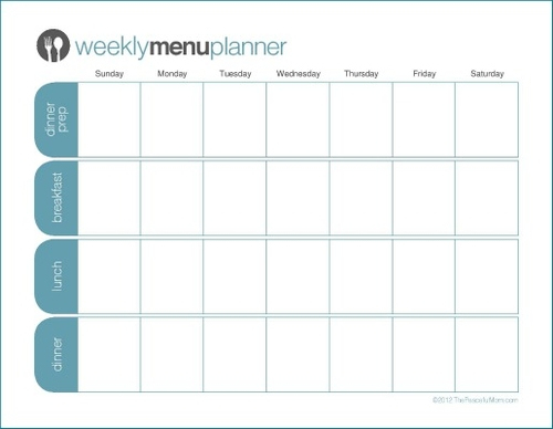 Click to Print: TPM One Week Menu Planner The Peaceful Mom