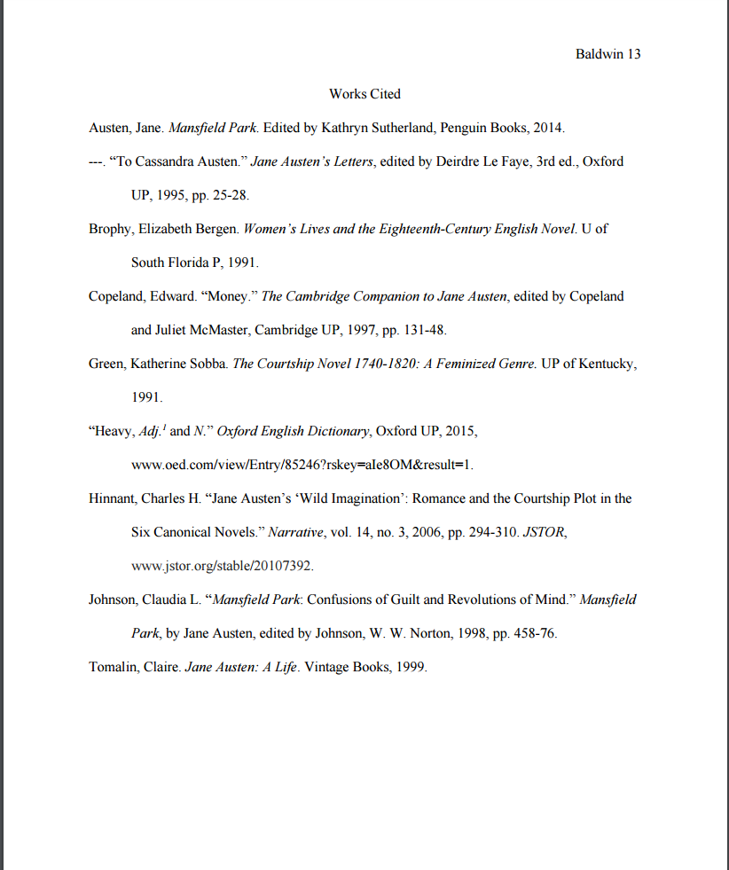 The Works Cited List Ready, Set, Cite (MLA), 8th Research