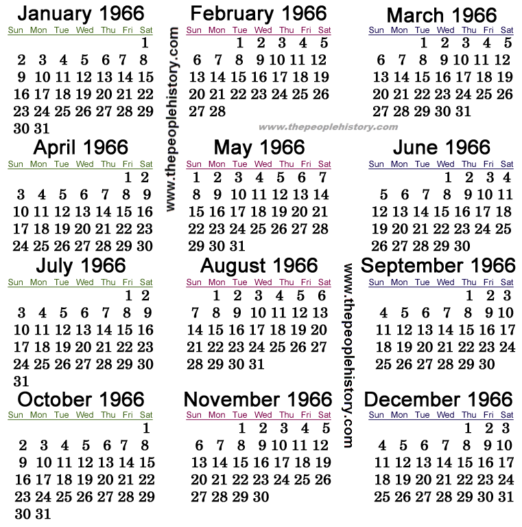1966 Calendar   events U.S. and around the World | History