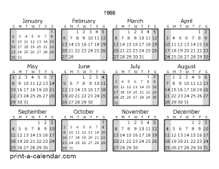 Download 1966 Printable Calendars