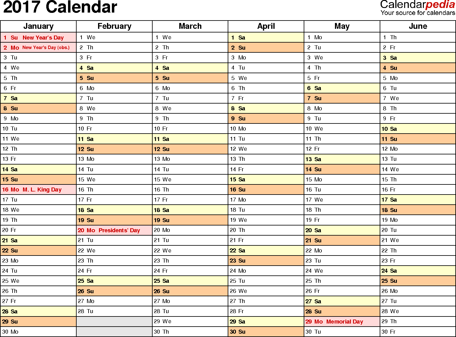 2017 Calendar   Download 17 free printable Excel templates (.xlsx)