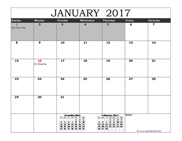2017 Calendar Template for Excel by ExcelMadeEasy
